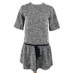 NWT Zara Knit Black White Tweed Drop Waist Dress